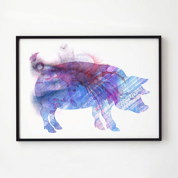 Pig watercolor Colorful decor Animal print EM298