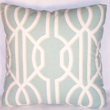 Pale Aqua Blue Lattice Throw Pillow 17 Inch Square Cotton White Trellis Art Deco Insert and Cover Ready to Ship