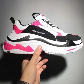 Balenciaga Mixed Colors Retro Sneakers Men And Women Running Shoes Pink&White
