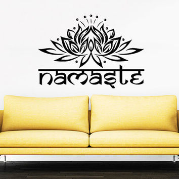 Wall Decal Namaste Vinyl Sticker Decals Art Home Decor Mural Mandala Ornament Indian Geometric Moroccan Pattern Yoga Lotus Flower Om #22