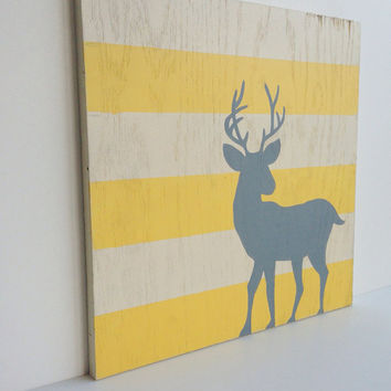 Woodland Nursery Art, Yellow and Gray Nursery decor, Deer Wall Art, Woodland decor, Gray and Yellow Nursery, Deer art, Kids wall art