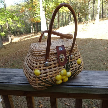 1960s Vintage Wicker or Straw Woven Purse from Carribean, Yellow Straw Flowers, Double Handles, Vintage Purses, Vintage Straw Purse, HandBag