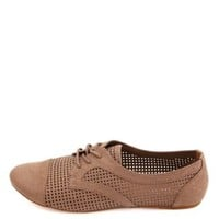 Cut-Out Cap-Toe Oxfords by Charlotte Russe - Brown