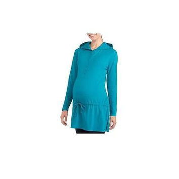 Maternity Long Sleeve Hooded Henley Tunic, Teal, Large Introspect
