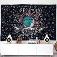 Psychedelic Sun Moon Hippie Tapestry Indian Wall Hanging Bohemian Stars Dorm art