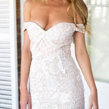 At Last White Beige Lace Off The Shoulder Sweetheart Neck Bodycon Midi Dress