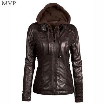 Leather Jacket Women 2018 Autumn Winter Bomber Jackets Coat Women Hoodies Zipper Female Faux Leather Jacket Coats With Pocket