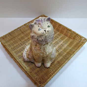 Ceramic Cat Figurine White Persain Hand Painted Face 1970s Green Eyes Vintage Home Decor