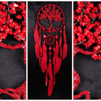 Coral howlite Dream Catcher Tree of life Dreamcatcher red Dream сatcher red dreamcatchers decor handmade Coral howlite gift Valentine's Day