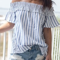 A Fine Line Blue Off The Shoulder Striped Top