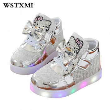 Little Girls Led Lights Shoes Children Glowing Flashing Sneakers Luminous Kids Princes