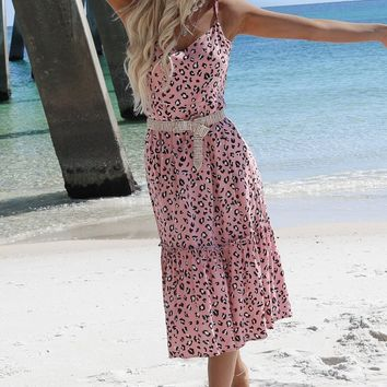Santa Barbara Pink Leopard Midi Dress