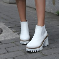 Round Toe High Heels Ankle Boots Platform Thick Heel Women Shoes 76143016