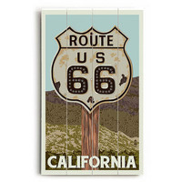 Route 66 California Wood Sign