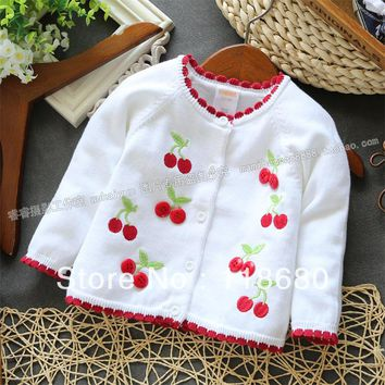 new 2013 Spring autumn girls sweater baby clothes kids knitted sweater baby outerwear cherry cardigan sweater knitting shirt