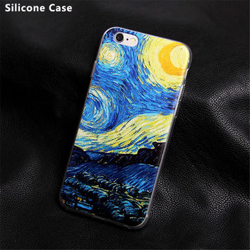 Soft Silicone Van Gogh Star Picasso Cover fundas Case For Apple iPhone se 4 4s 5 5s 5c 6 6s plus coque TPU print Crystal Soft