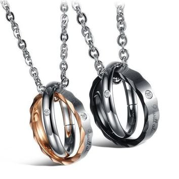 CREYUG3 Stylish Gift New Arrival Shiny Korean Accessory Jewelry Titanium Rhinestone Couple Pendant Necklace With Christmas Gift Box [9509254596]