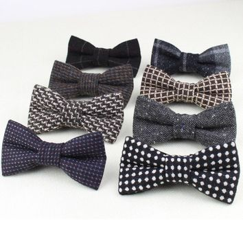 Superior Classical Formal 100% Wool Bow Tie Gravata Colors Houndstooth Pattern Necktie Mens Luxury Ties Tweed Bowtie No.21-28