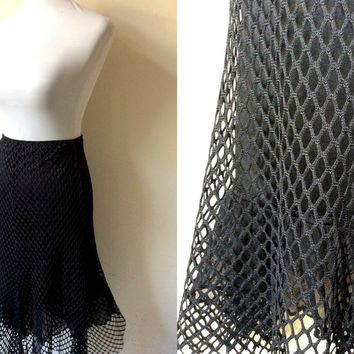 Halloween Sale: black net midi skirt (26-32 inches)