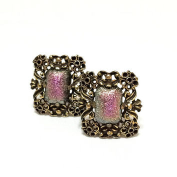 Judy Lee Earrings, Rectangular Bronze Earrings, Iridescent Cabochons, Shades of Pink, 1960s, Signed Statement Vintage Jewelry
