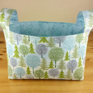 Winter Trees with Blue Tonal Snowflakes ~ Medium Fabric Basket Storage Bin