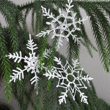 Set of 3 Hand Crocheted Snowflakes - Holiday Decor - Ornament - Christmas