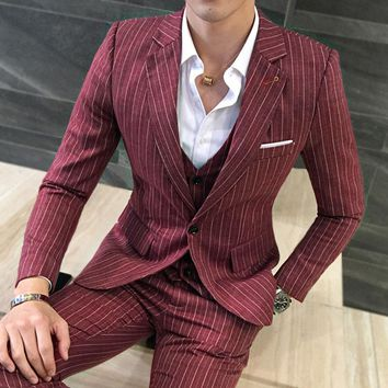 Men's 3 Piece Fashion Vertical Stripe Set
