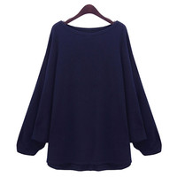 Solid Color Bat-Wing Sleeves Loose-Fitting Style Scoop Neck Sweater For Women