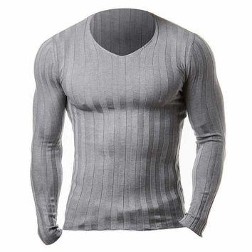 2018 New Winter Brand Clothing Mens Long Sleeve Fitness Knitted T-shirt Homme Bodybuilding Muscle Gyms T Shirt Men Crossfit Tops