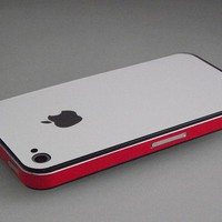 iPhone 4 - 4s Matte White Wrap Red Skins Guard Buy Any 2 Get 1 Gift   Skinstronic - Techcraft on ArtFire
