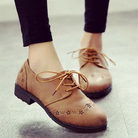 Summer England Style Vintage Round-toe With Heel Korean Shoes [6366207876]