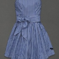 Abercrombie & Fitch Blue Stripe FIONA Strapless Dress A&F Size XS