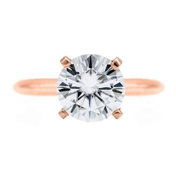 Round Moissanite 14K Rose Gold 4 Prongs Solitaire Ring