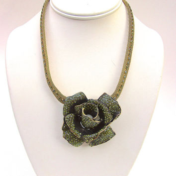 Green Rose Rhinestone Mesh Necklace, Designer, Slider Flower, Vintage