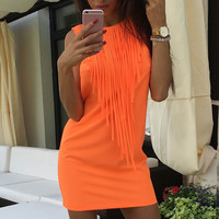Sexy Summer Women Dress Fluorescent Bright Color Tassel Sleeveless Slim Fit Mini Dresses