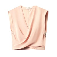 Wrap-front silk top