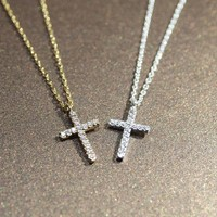 Rhinestone Cubic Zirconia Cross Necklace(silver/gold)