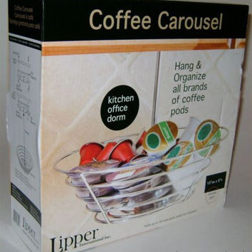 Coffee Carousel Chrome Lipper Organizer Steel Rack K-Cup Holder Pods Rotates 360