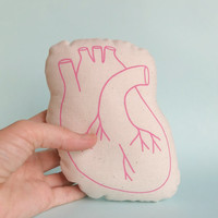 Pink Heart Screen Printed Human Heart