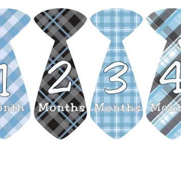 Baby Month Stickers Monthly Onesuit Stickers Boy Blue Black Preppy Tie Onesuit Stickers Monthly Stickers Baby Shower Gift Photo Prop Dylan3