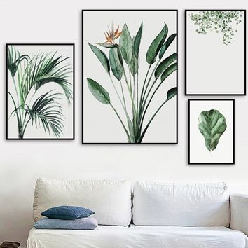 Watercolor Strelitzia Palm Leaf Flowers Wall Art Canvas Painting Nordic Posters And Prints Wall Pictures For Living Room Decor