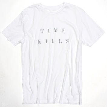 TIME KILLS, reverse-printed on inside of Tee for effect