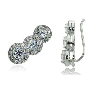 Sterling Silver CZ Three Stone Halo Crawler Climber Hook Earrings, 3 Colors