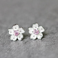 Pink Zirconia & Flower Earrings, Sterling Silver Flower Stud Earrings, CZ earrings, Cubic Zirconia Earrings, Flower Jewelry, gifts for her