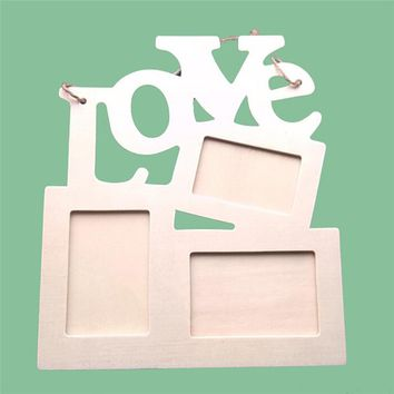 Modern Wooden Hollow LOVE Photo Frame 3 Photos Window DIY Wall Photo Picture Frame Home Decor Art
