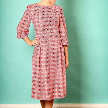 Modest dress with print - Pink midi dress – Holiday dress