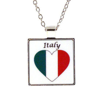 Italy Heart Pendant with Chain Necklace