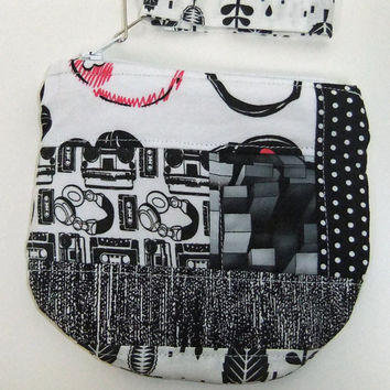 modern black and white Themed Patchwork Zip Pouch - OOAK