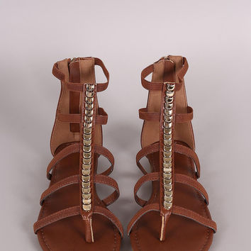 Bamboo Center Ornament Strappy Thong Flat Sandal