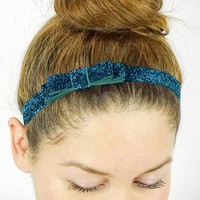 Teal Glitter Headband Bow Hair Accessories Sparkle Headband Frosty Headband Glitter Hair Bow Double Layered Bow Elastic Headband Kawaii Bow